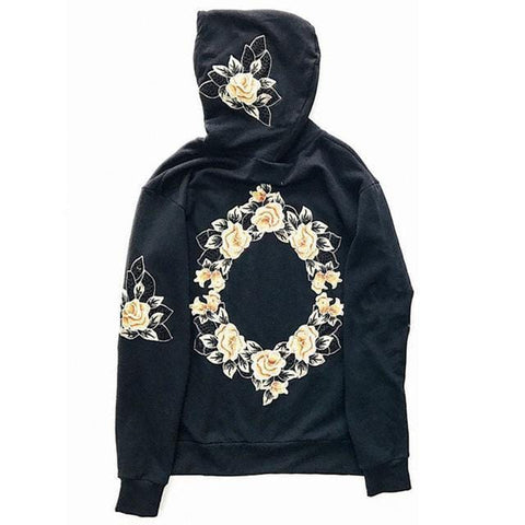 Mens Embroidery Floral Hooded Pullover