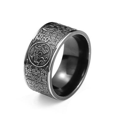 Mythical Dragon with Greek Symbols Retro Titanium Ring