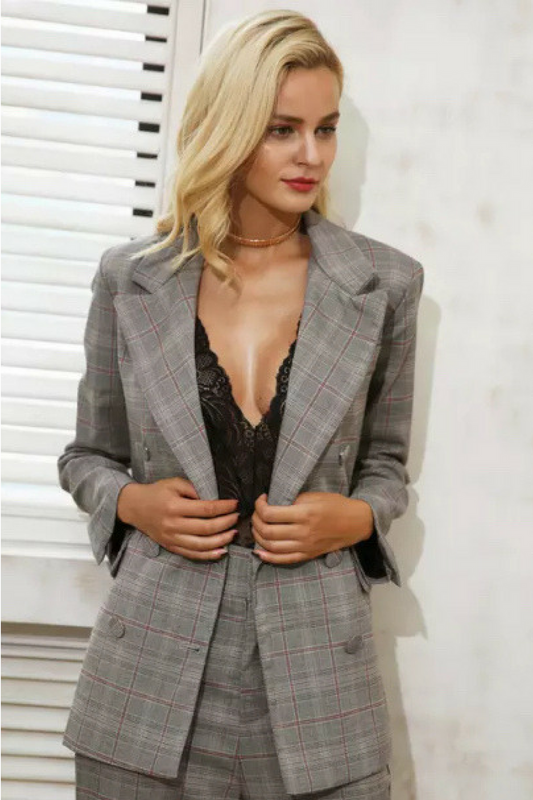 Plaid single breasted Jacket, Grey background with red grid and white, full sleeve, regular length