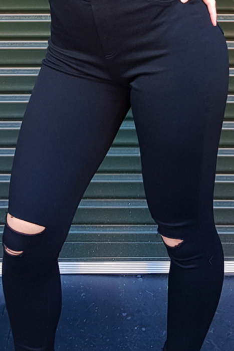 RIPPED JEGGINGS BLACK