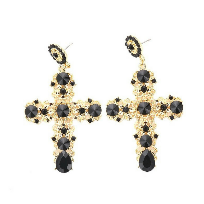 Baroque Bohemian cross earring,Black crystal stones embedded, Zinc ally, 8.1 Long x 4.6 Width on trend, gold colour
