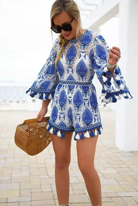 GYPSEY LACE TASSEL PLAYSUIT