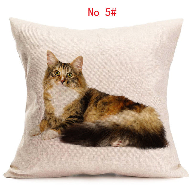 ... A Very Realistic Cat Linen Pillow Covers Sofa Pillow Case Car Seat  Cushion Cover Decorative Pillows ...