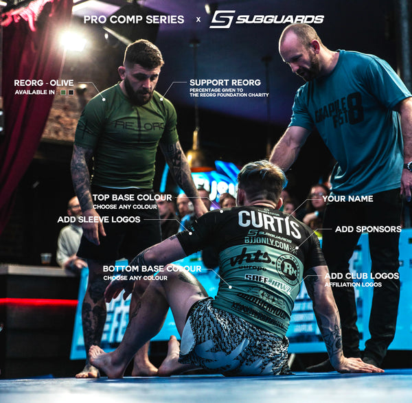 The Reorg Olive Rashguard and Pro Comp Custom made BJJ Rashguard both in action during a Grappling competition. The Pro Comp features club logos and sponsors. Perfect for any MMA athlete or Jiu Jitsu competitor. Custom made BJJ Rashguard and MMA Shorts