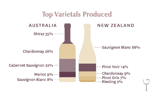 Top Wine Varietals of Australia and New Zealand