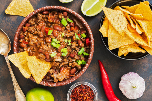 Game Day Chili with Chips and Wine