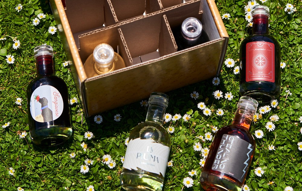 Mini Wine Bottles in a Field of Flowers - Tasting Flights & Full Bottles