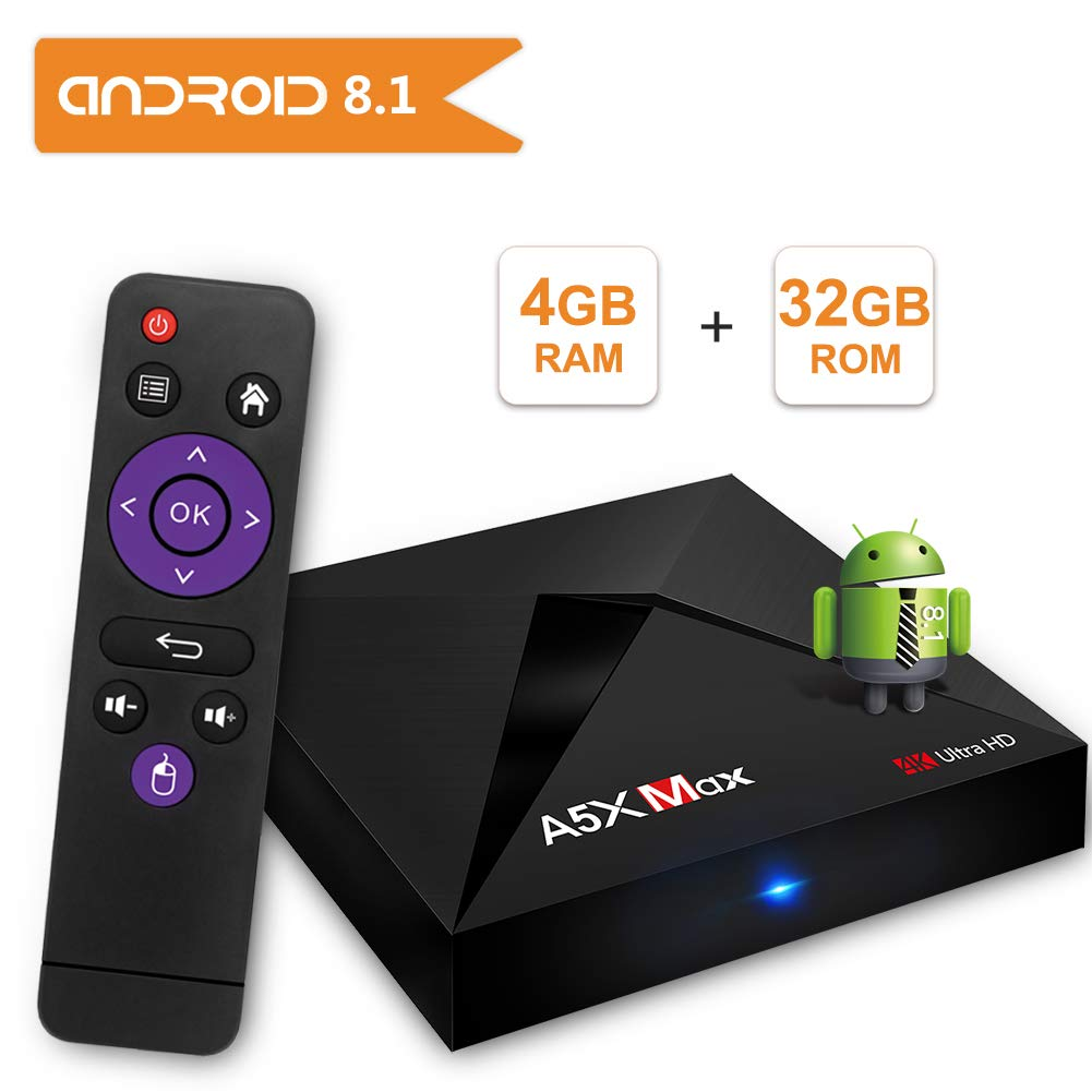 Android 8.1 TV Box Sidiwen A5X MAX 4GB DDR3 RAM 32GB ROM Bluetooth 4.1 RK3328 Quad Core 64 Bit CPU Support 3D 4K Ultra HD H.265 Decoding WiFi 2.4GHz Ethernet USB 3.0