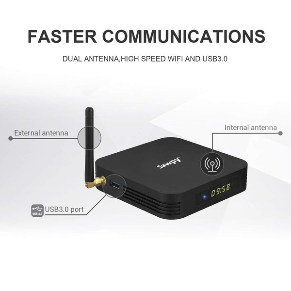 Sawpy TX6 Android tv Box 9.0 2GB DDR3 + 16GB Allwinner H6 up to 1.5 GHz Quad core ARM Cortex-A53 4K 2.4G WiFi Smart TV Box