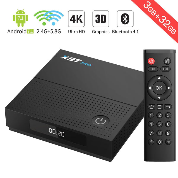 X9T Pro TV Box Android 7.1 3G DDR3/ 32GB EMMC/ Bluetooth 4.1 Android TV Box 1000M LAN/ 2.4G+5.8G WIFI Amlogic S912 Octa core Smart TV Box 1080p/HD 4K2K Output
