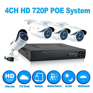 JOOAN 4CH NVR Kit 2.0MP 1080P POE Camera System HD Security IP Camera System CCTV Monitor System Complete Surveillance Network Camera System Home Video Camera System