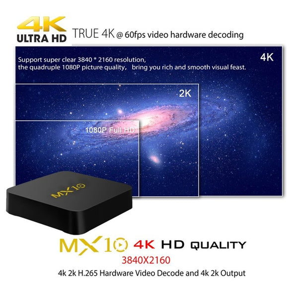 MX10 Date 4 G DDR4 32 GB Android 7.1 Smart TV Box H.265 64bit 4K (60Hz), 3D, RK3328 Quad Core Set Top Box
