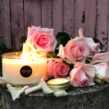 Load image into Gallery viewer, DAHLIA, Pomegranate Rose & Lychee, Large Glass Candle