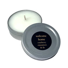 WELCOME HOME, Cranberry Cinnamon & Fir, 1 oz. Tin Candle