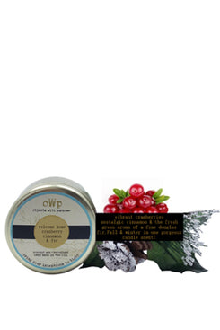 WELCOME HOME, Cranberry Cinnamon & Fir, 5 oz. Tin Candle