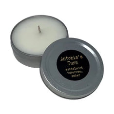 ANTONIA'S TURN, Patchouli Sandalwood & Tuberose, 1 oz. Tin Candle