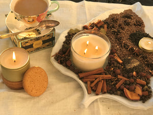 (12) FRANCESCA'S CHAI, Chai Tea Spices, Medium Glass Candles