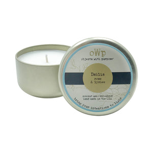 DAHLIA, Pomegranate Rose & Lychee, 5 oz. Tin Candle