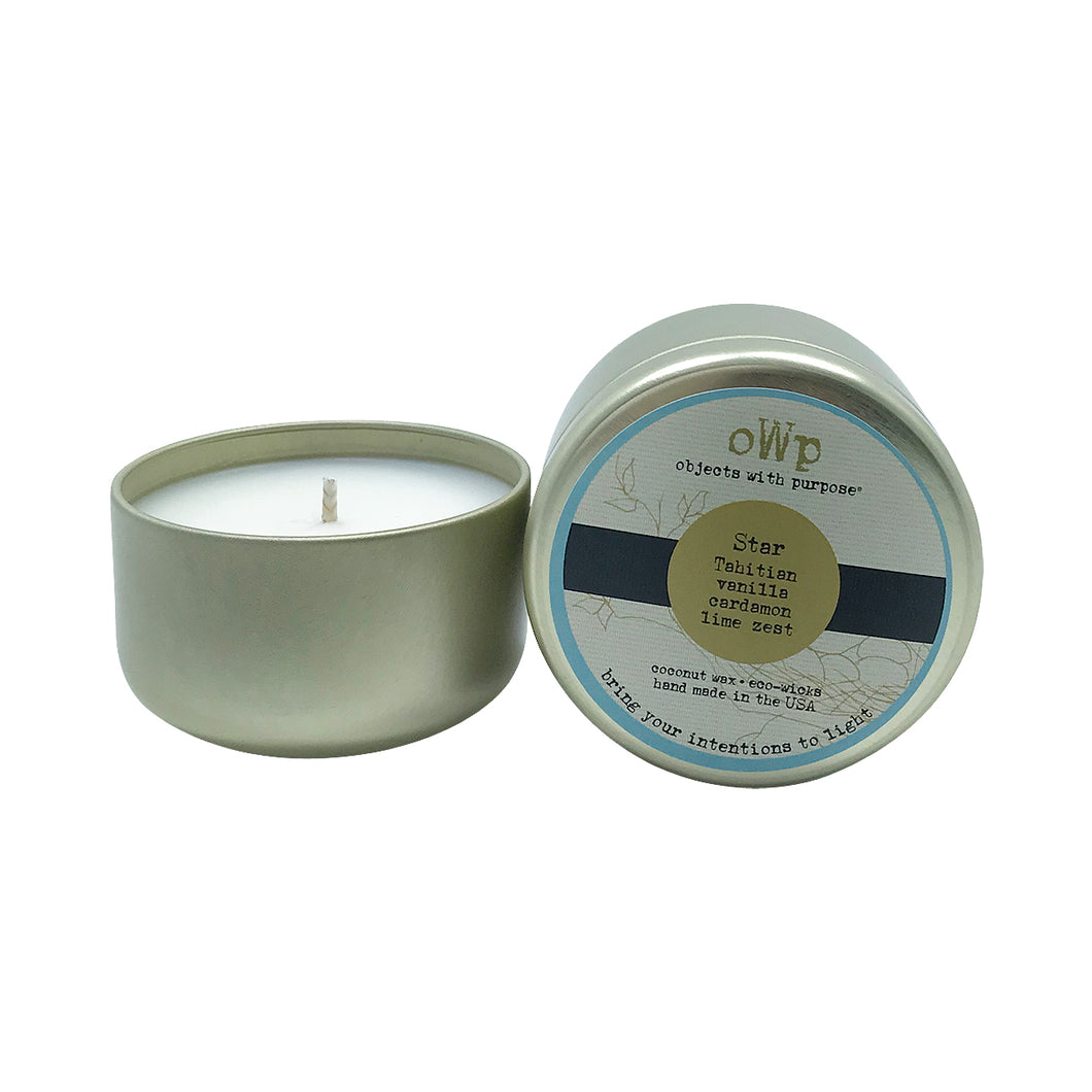 STAR, Tahitian Vanilla Cardamom & Lime, 5 oz. Tin Candle
