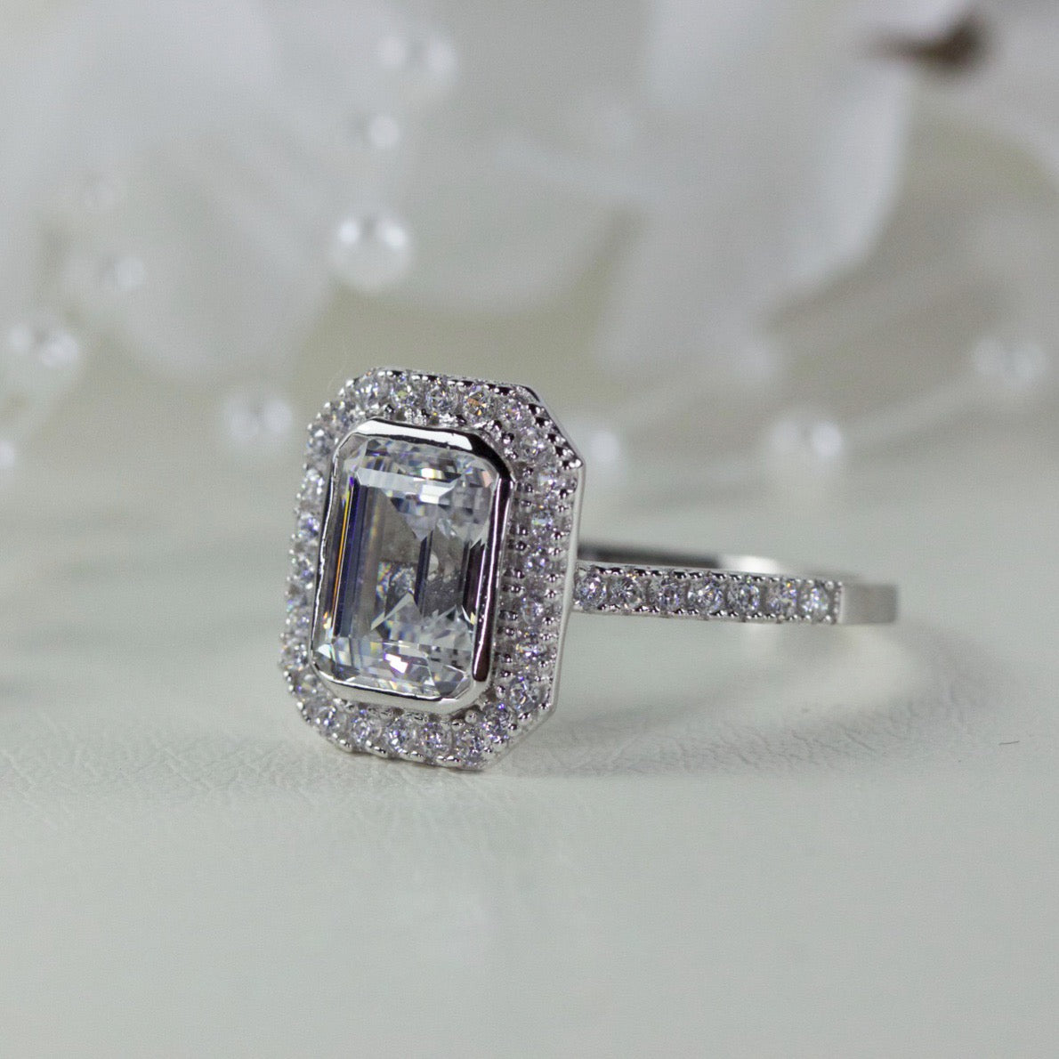 375ad9dae Halo 1.50 Carat Emerald Cut Cubic Zirconia Engagement Ring – Alida ...