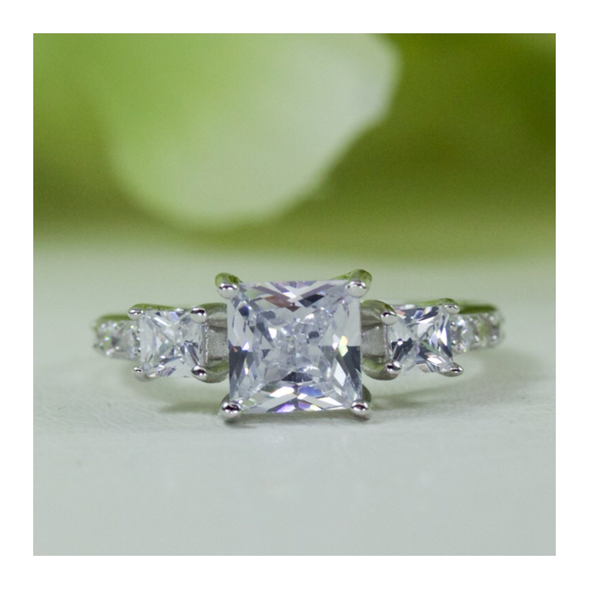 Three Stone Princess Cubic Zirconia Engagement Ring In Sterling