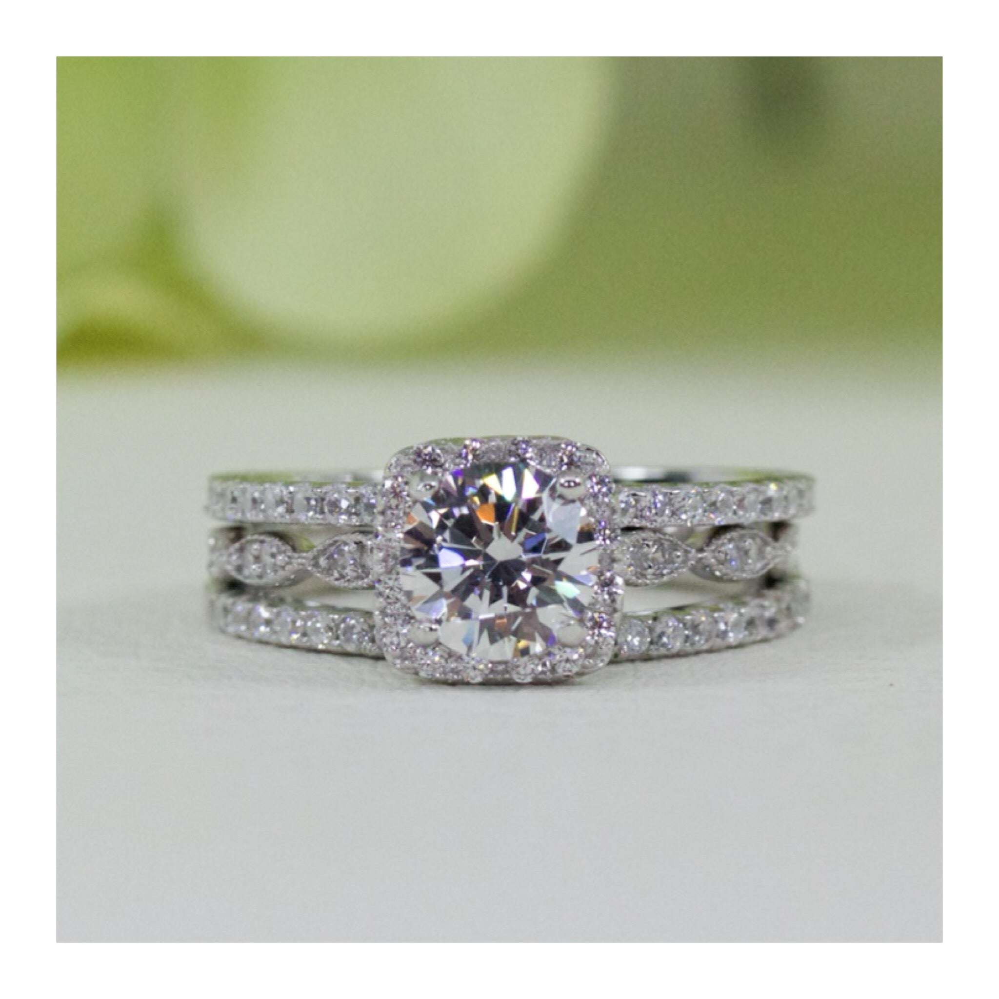 Sterling Silver Halo Art Deco Style Cubic Zirconia Engagement Ring