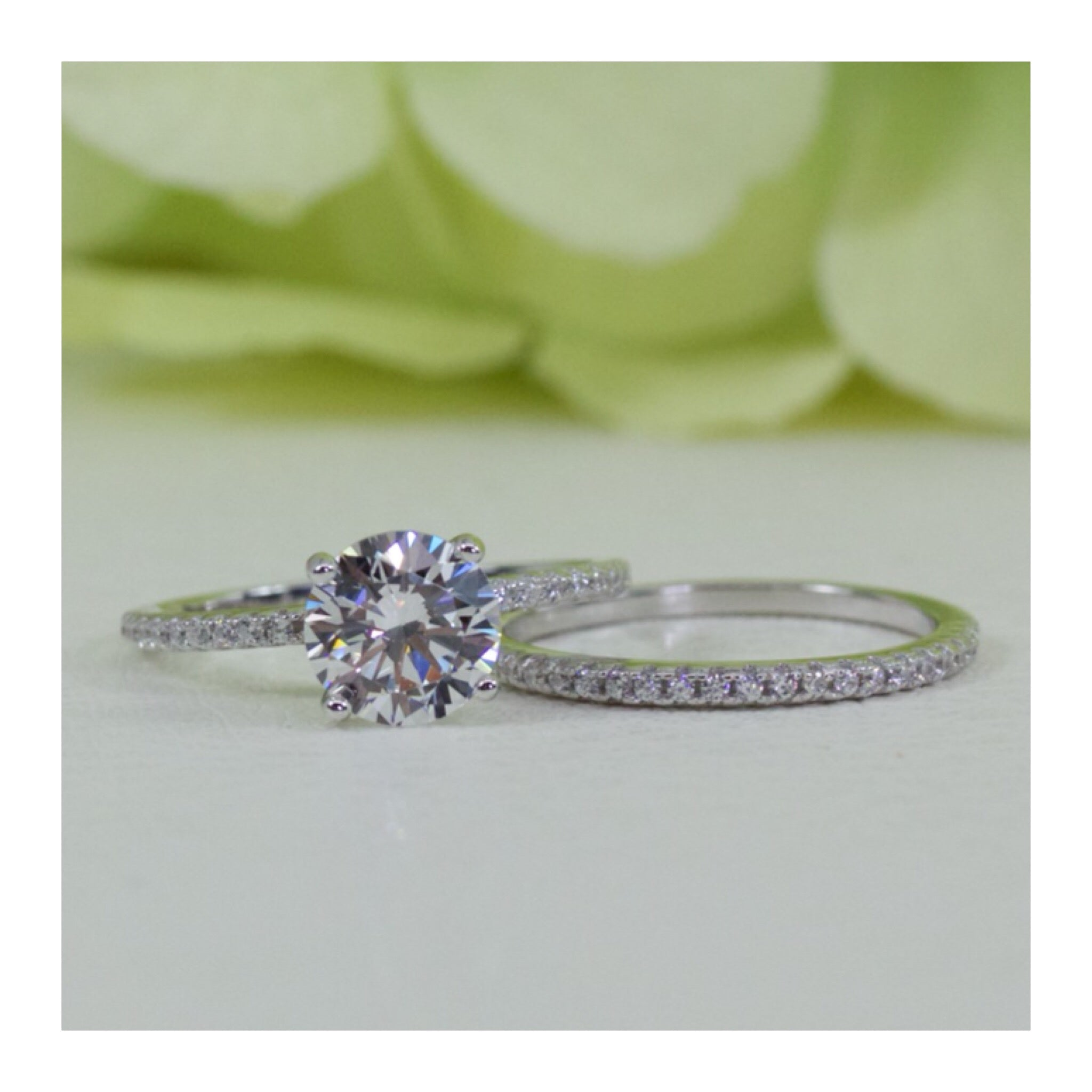 ebbc2f1ed2fff Sterling Silver 1.25 Ct Round French Pavé Band Half Eternity CZ Engagement  Ring Set