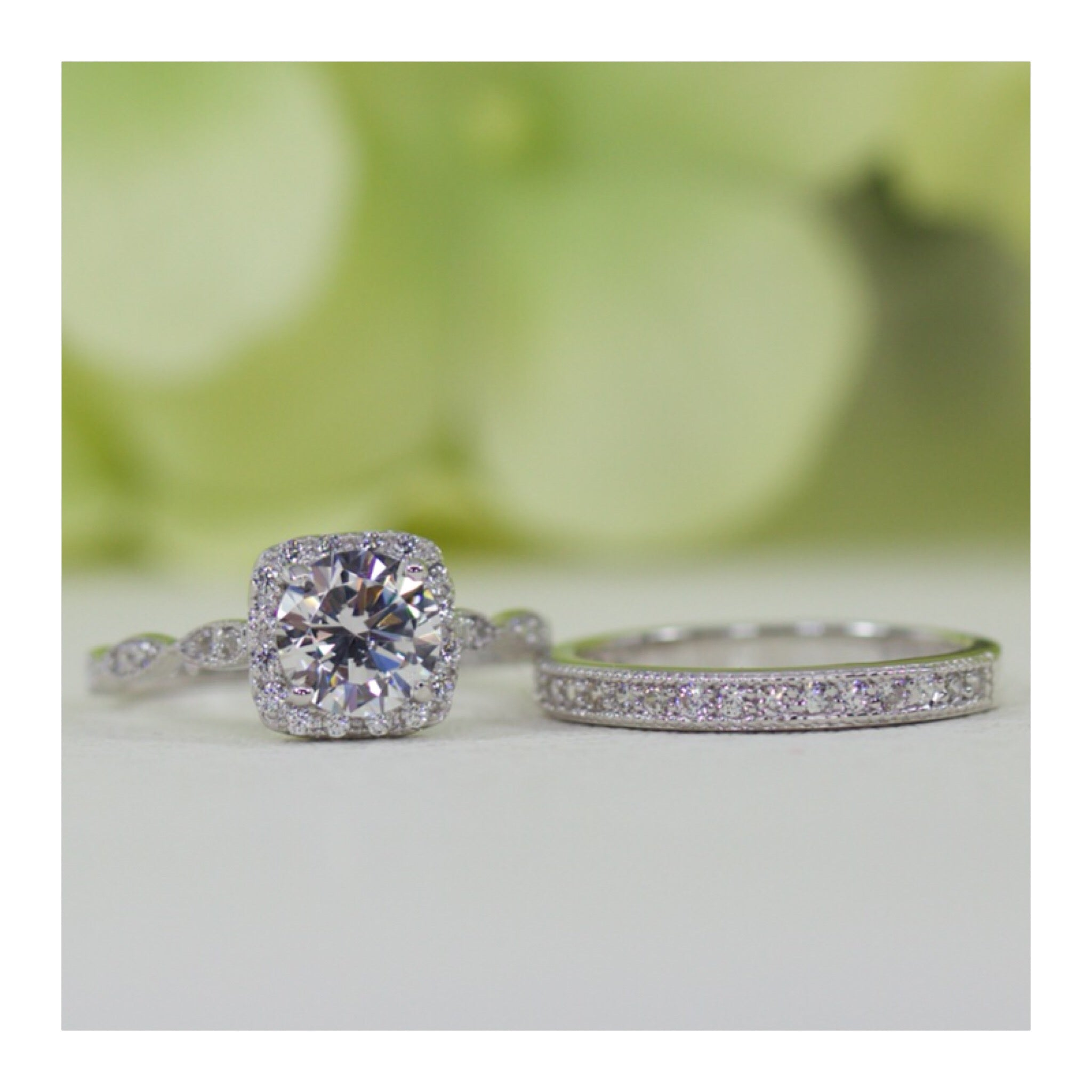 dd385ad85 Sterling Silver 1.00 Ct Halo Cushion Art Deco And Micropavé Vintage Style  Band CZ Engagement Ring