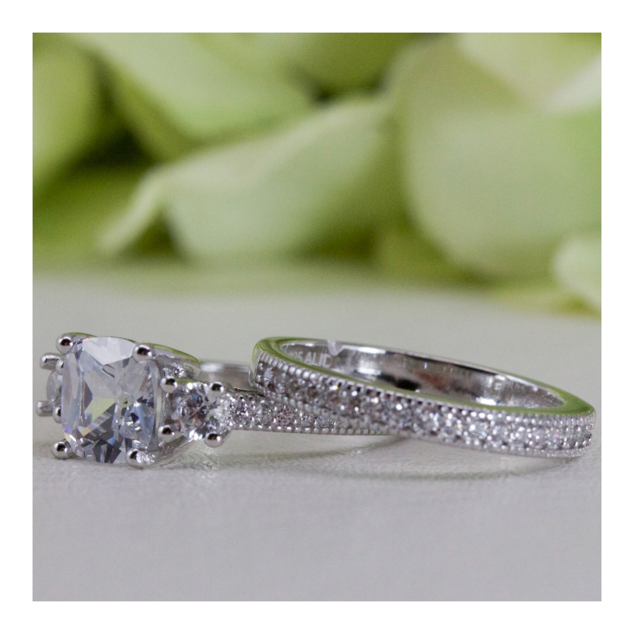 Micropave Vintage Style Cushion Cut Cubic Zirconia Engagement Ring Set