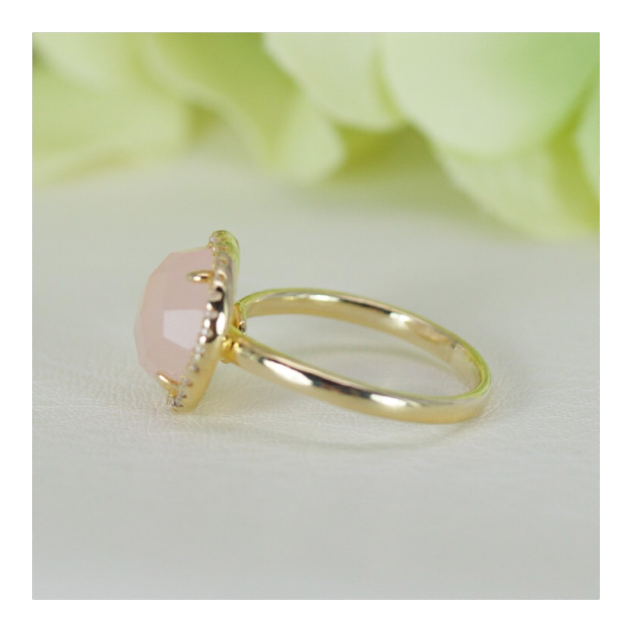 ring quartz rose gemstones cz gold geometric wedding engagement rings stone carat layered plated charm products