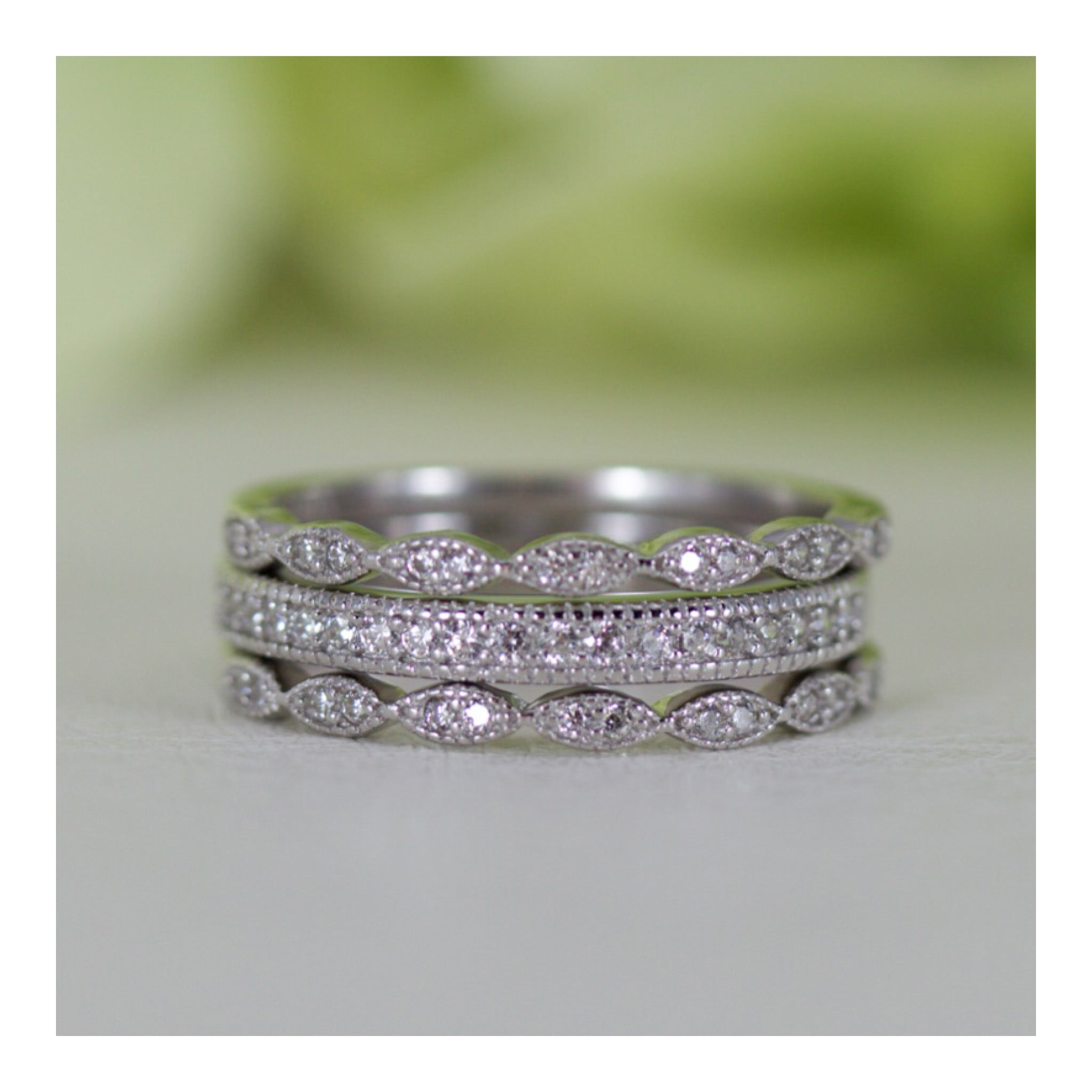 stone emerald ctw gold diamond cut set ed white p picture a three bands of halo wedding band in ring