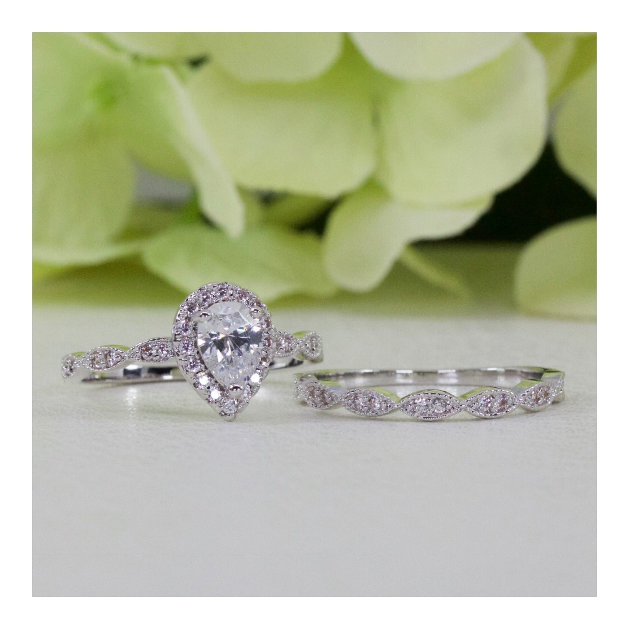 Halo Art Deco Style Pear Cz Engagement Ring Set In Sterling Silver
