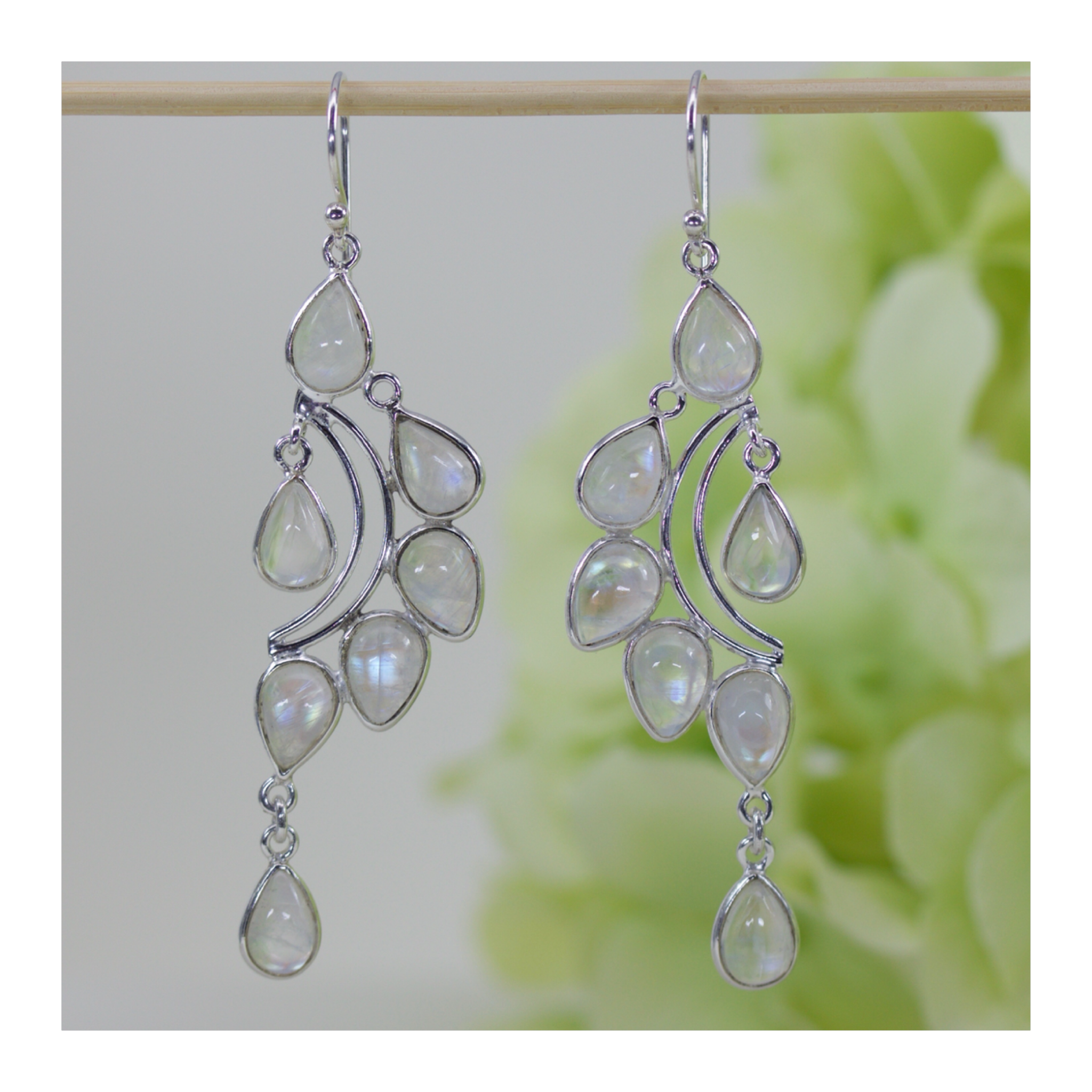chandelier watermelon in style song jewellery tourmaline gypsy silver design dangle the boho gemstone earrings