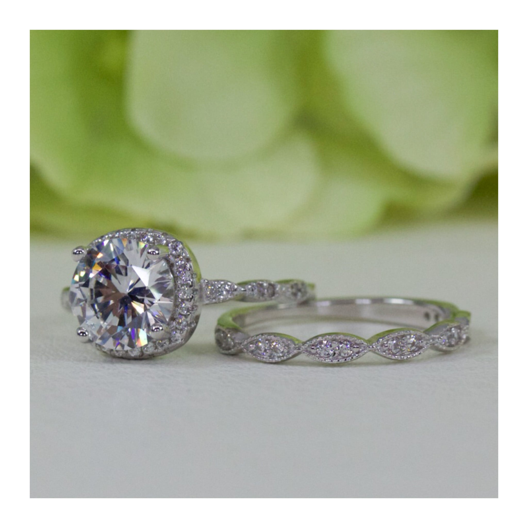 Round Halo And Art Deco Style Band Cubic Zirconia Engagement Ring