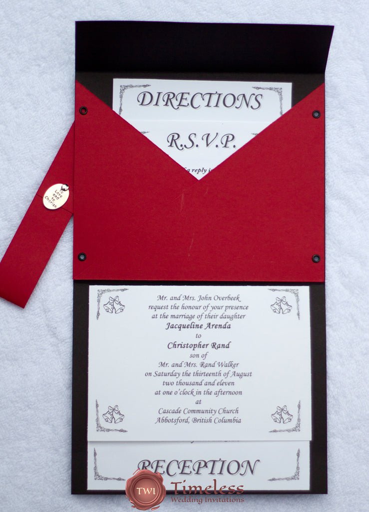 Black and red wedding invitation