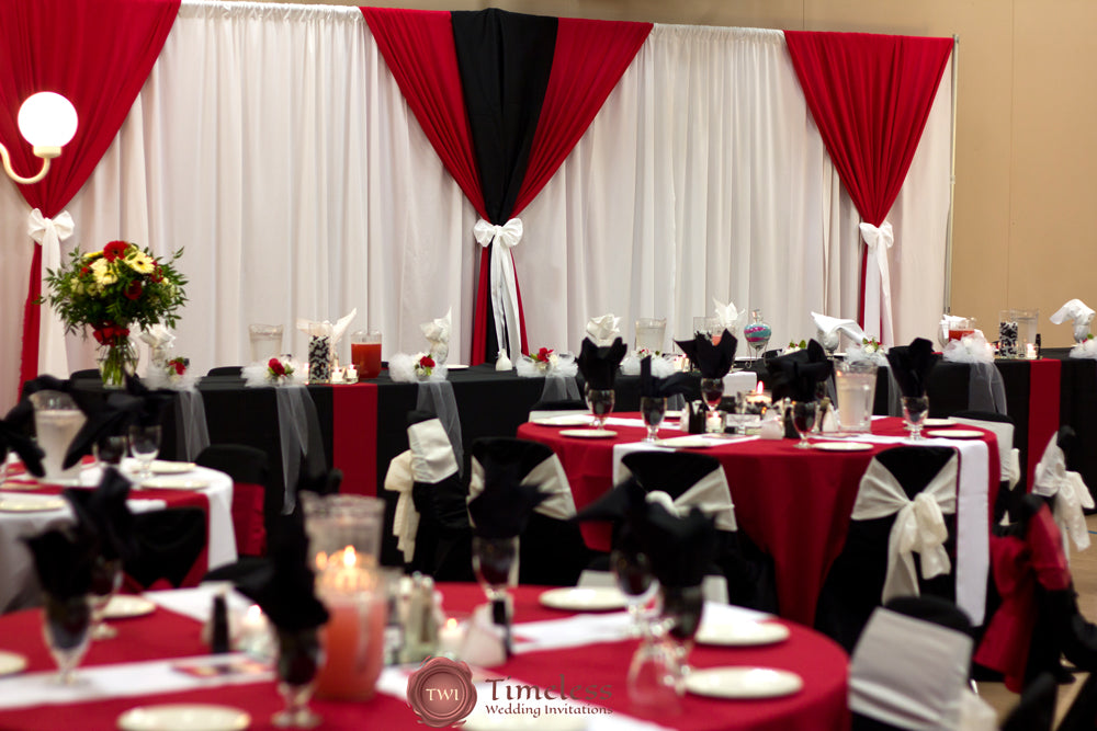 Black and red wedding reception