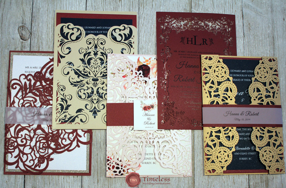Burgundy, gold, navy and pink laser cut wedding invitations