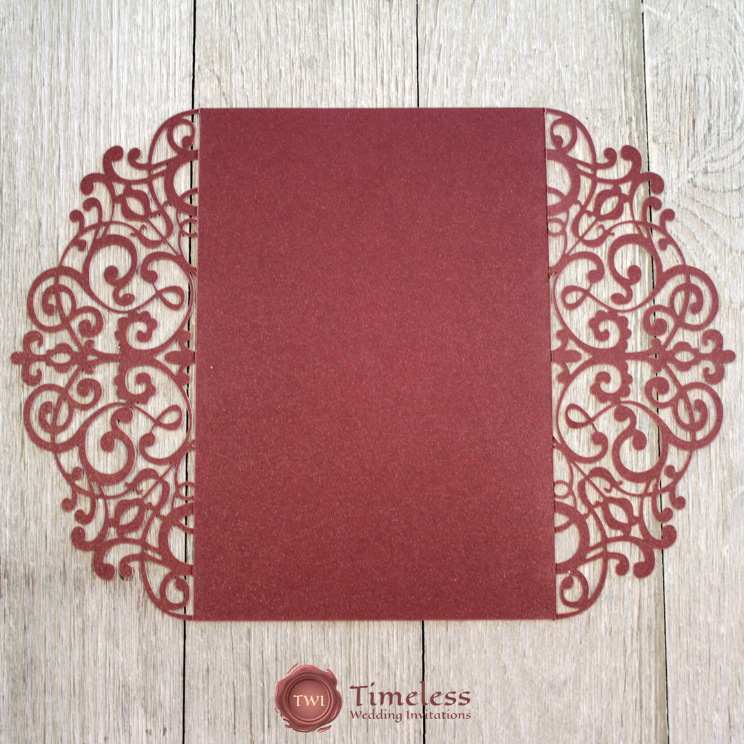 Burgundy Shimmer Gorgeous Lace Laser Cut Invitation Cover