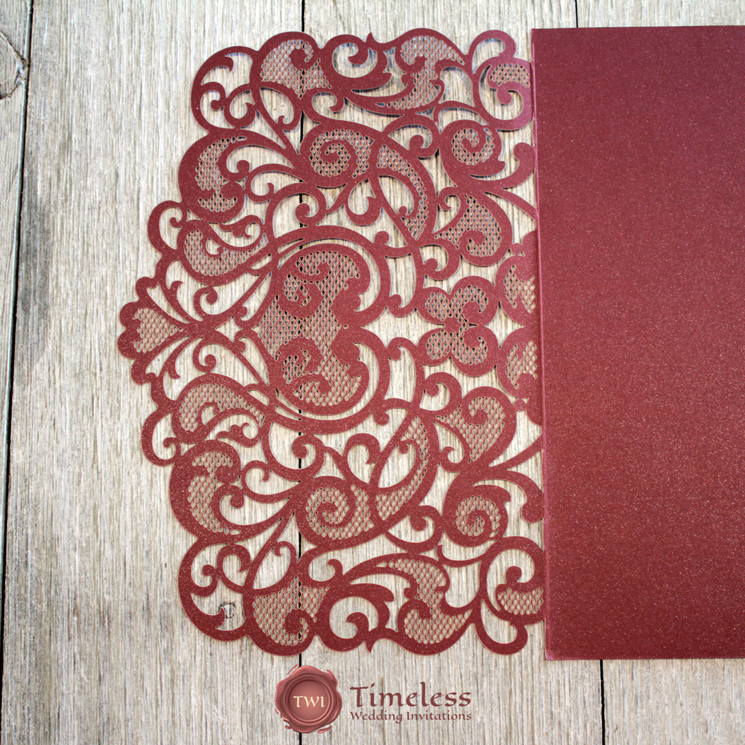 Burgundy Shimmer Graceful Love Heart Tri-fold Laser Cut Invitation Cover