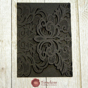 Glittering Black Graceful Lace Laser Cut Invitation Cover
