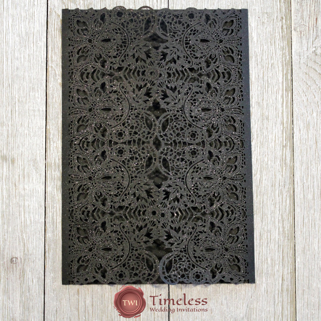 Glittering Black Exquisite Lace Laser Cut Invitation Cover