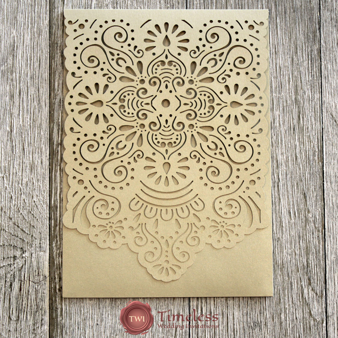 Champagne Gold Shimmer 'Gorgeous Hand Painted Clouds' Laser Cut Invitation Cover