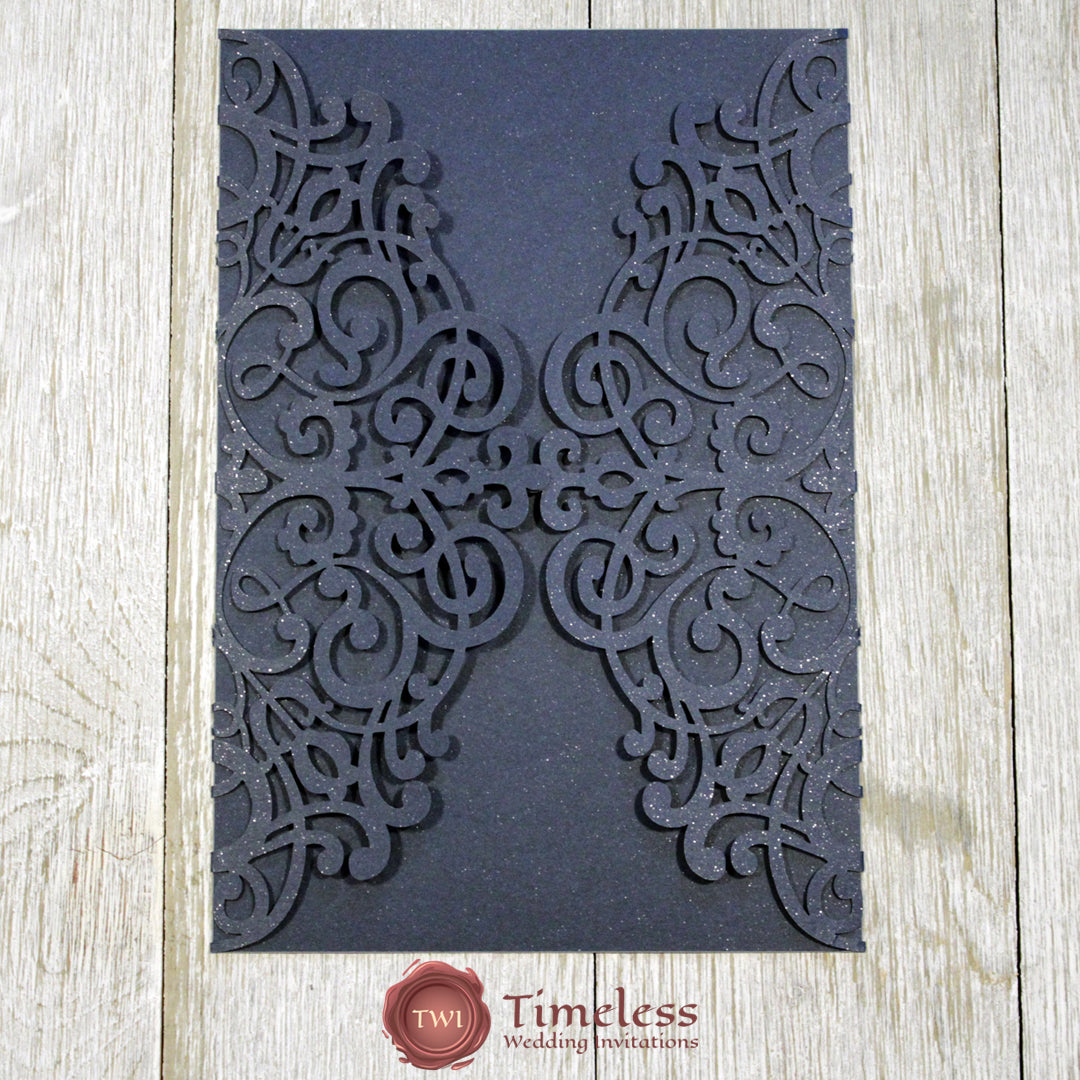 Glittering Navy Gorgeous Lace Laser Cut Invitation Cover