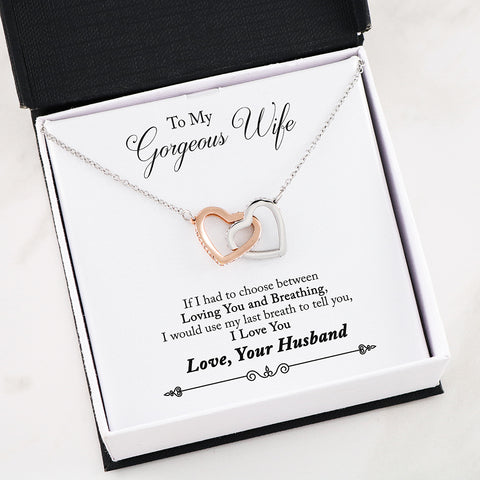 "Image of ""To Wife, Love Husband-Last Breath"" Interlocking Hearts Necklace"