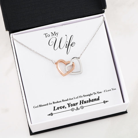 """To Wife, Love Husband-Broken Road"" Interlocking Hearts Necklace"