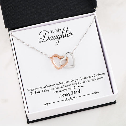 "Image of ""To Daughter, Love Dad-Pray Always Be Safe"" Interlocking Hearts Necklace"