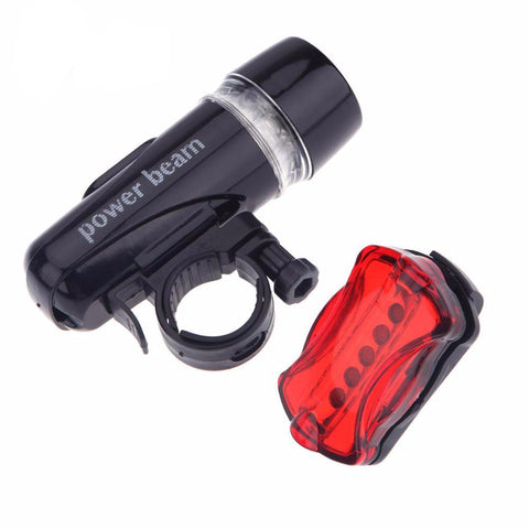 Image of Bike Front Head Light + LED Rear Safety Flashlight