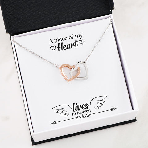 """A Piece of My Heart"" Remembrance Interlocking Hearts Necklace"