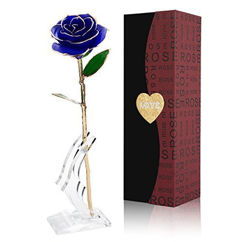 Image of 24k Gold Plated Rose With Transparent Stand And Exquisite Gift Box