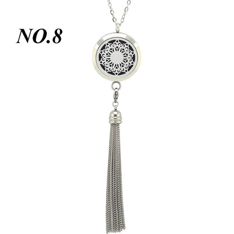 Image of Tassel Stainless Steel Essential Oli Diffuser Necklace